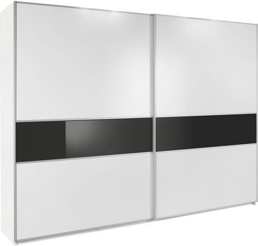 SCHWEBETÜRENSCHRANK 2-türig Alufarben, Schwarz, Weiß - Alufarben/Schwarz, Design, Glas/Holzwerkstoff (315/236/69cm) - Cantus