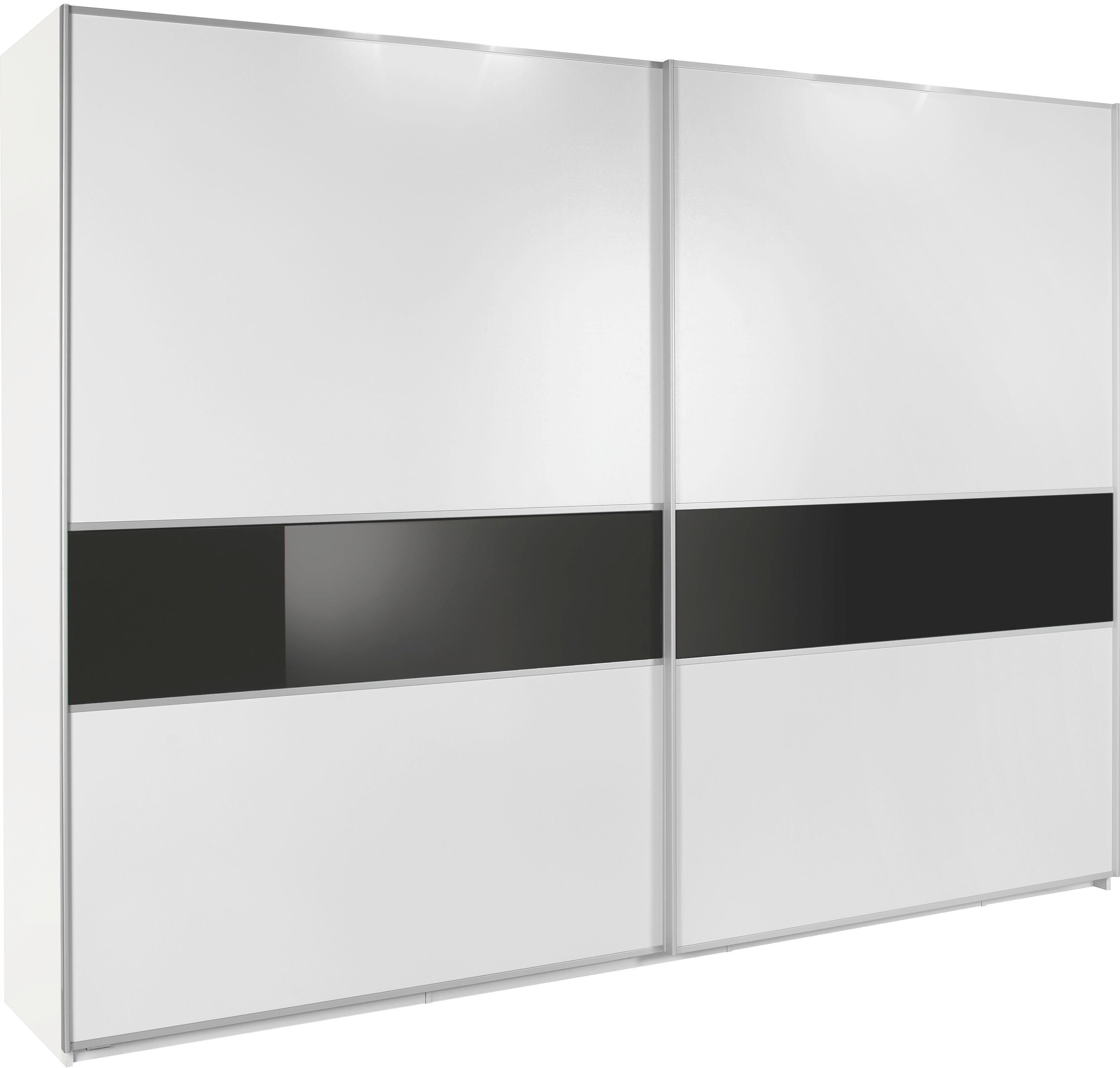 SCHWEBETÜRENSCHRANK 2  -türig Schwarz, Weiß - Schwarz/Alufarben, Design, Glas/Holzwerkstoff (270/223/69cm) - CANTUS