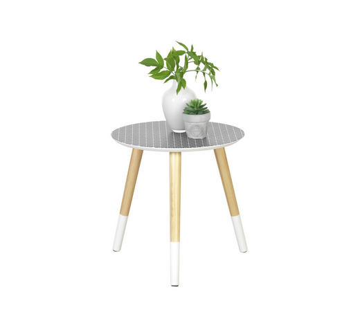 BEISTELLTISCH in Naturfarben, Schwarz, Weiß  - Schwarz/Naturfarben, Design, Holz/Holzwerkstoff (40/40cm) - Carryhome