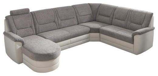 WOHNLANDSCHAFT Lederlook Bettkasten, Rücken echt, Schlaffunktion - Silberfarben/Schwarz, Design, Kunststoff/Textil (316/96/160/234cm) - Carryhome