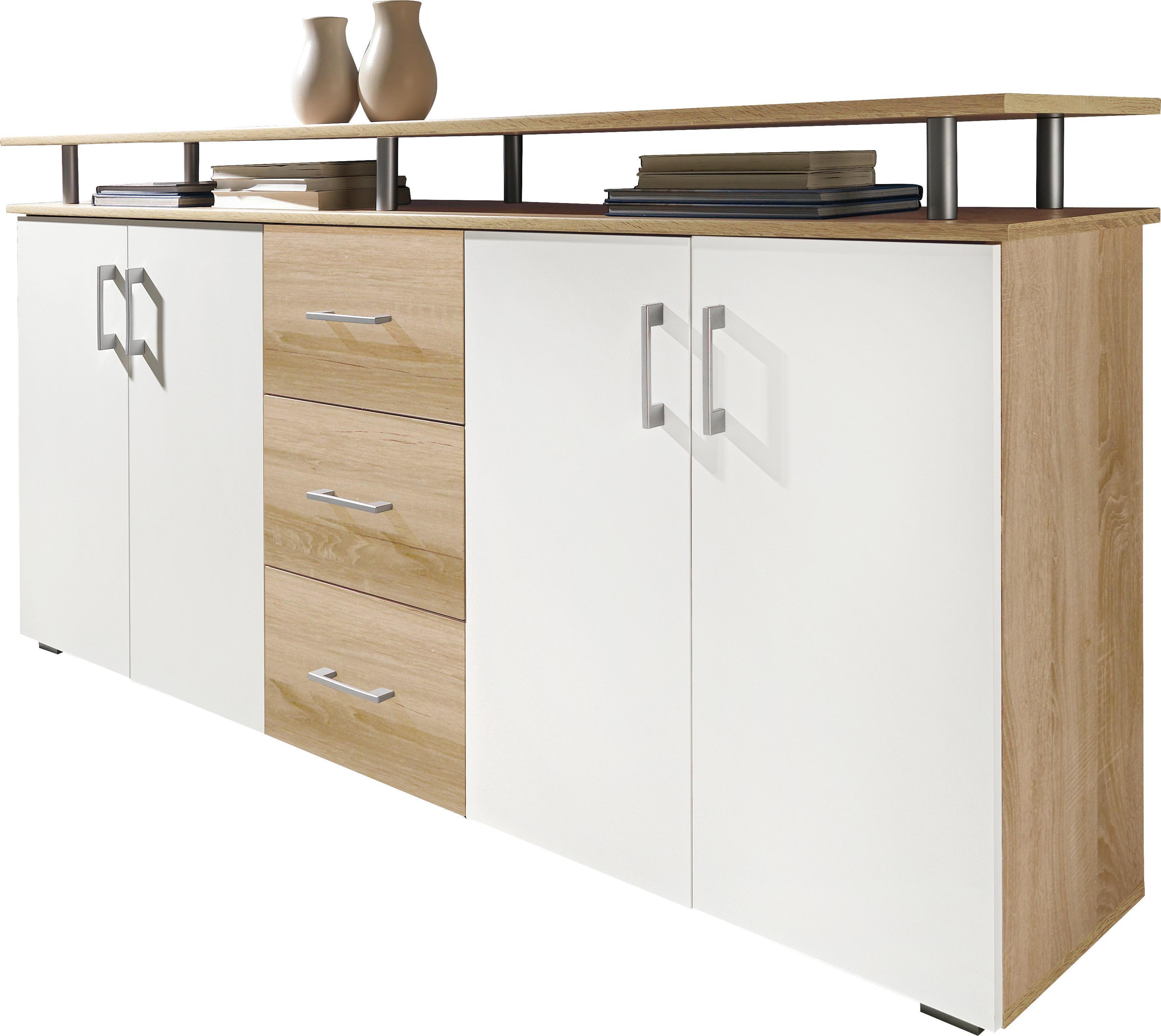 KOMODA - bijela/boje hrasta, Design, drvni materijal/plastika (180177/91/39cm) - XORA