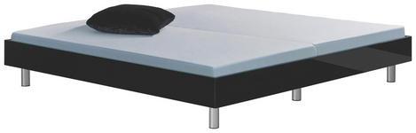 BETT 200 cm   x 200 cm   in Holzwerkstoff Schwarz - Chromfarben/Schwarz, Design, Holzwerkstoff (200/200cm) - Xora