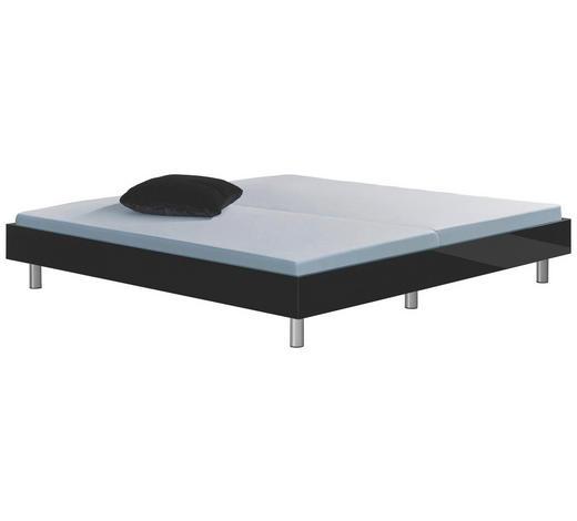 BETT 200/200 cm  in Schwarz - Chromfarben/Schwarz, Design, Holzwerkstoff (200/200cm) - Xora