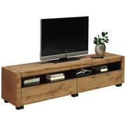 KOMODA LOWBOARD, černá, barvy dubu - barvy dubu/černá, Design, kompozitní dřevo (180/45/40cm) - Xora
