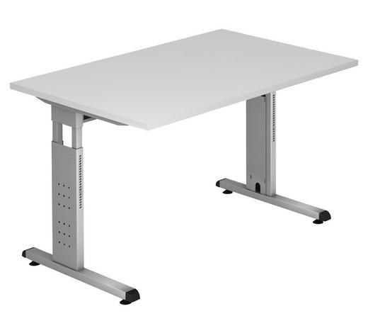 SCHREIBTISCH - Silberfarben/Weiß, KONVENTIONELL, Holzwerkstoff/Metall (120/65 (85)/80cm)