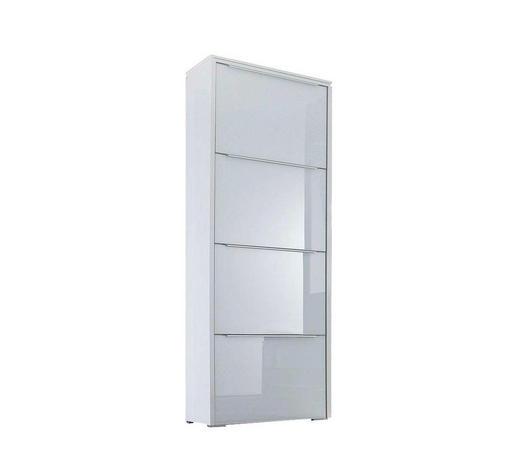 SCHUHSCHRANK 62/177/36 cm  - Silberfarben/Weiß, Design, Glas/Holzwerkstoff (62/177/36cm) - Cassando