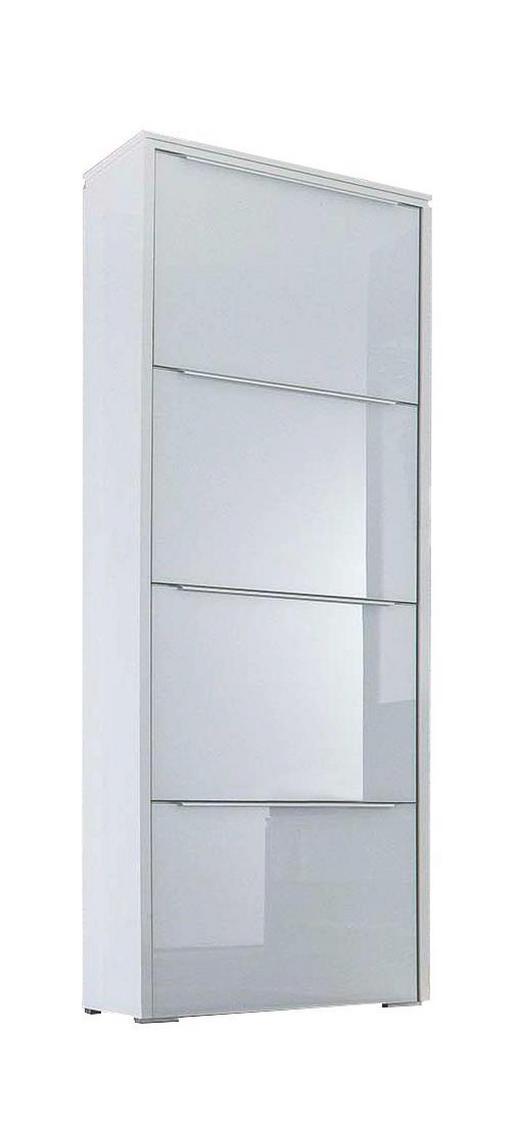 SCHUHSCHRANK lackiert Weiß - Silberfarben/Weiß, Design, Glas/Metall (62/177/36cm) - Cassando