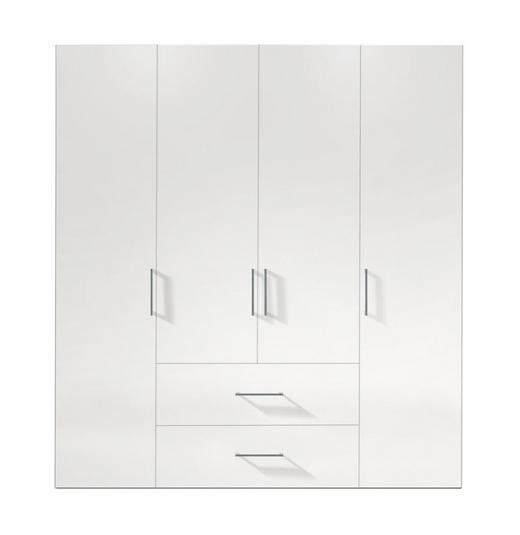 DREHTÜRENSCHRANK 4-türig Weiß - Alufarben/Weiß, KONVENTIONELL, Holzwerkstoff/Kunststoff (200/216/58cm) - Hom`in