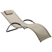 GARTENLIEGE 63/68/168 cm - Taupe/Schwarz, Design, Textil/Metall (63/68/168cm) - Xora