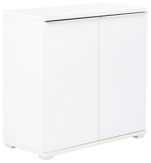 KOMMODE - Chromfarben/Weiß, Design, Glas/Holzwerkstoff (80/80/40cm) - Moderano