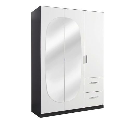 DREHTÜRENSCHRANK in Grau, Weiß - Alufarben/Weiß, KONVENTIONELL, Glas/Holzwerkstoff (136/197/54cm) - Carryhome