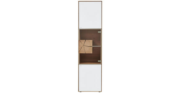VITRINE Kerneiche vollmassiv Eichefarben, Transparent, Weiß - Eichefarben/Transparent, Natur, Glas/Holz (50/196/39cm) - Valnatura