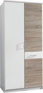 DREHTÜRENSCHRANK in Eichefarben, Weiß - Eichefarben/Silberfarben, KONVENTIONELL, Holzwerkstoff/Kunststoff (90/199/58cm) - Boxxx