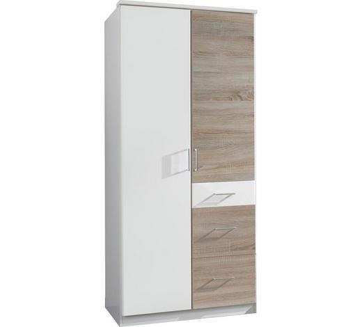 DREHTÜRENSCHRANK in Weiß, Eichefarben - Eichefarben/Silberfarben, KONVENTIONELL, Holzwerkstoff/Kunststoff (90/199/58cm) - Boxxx