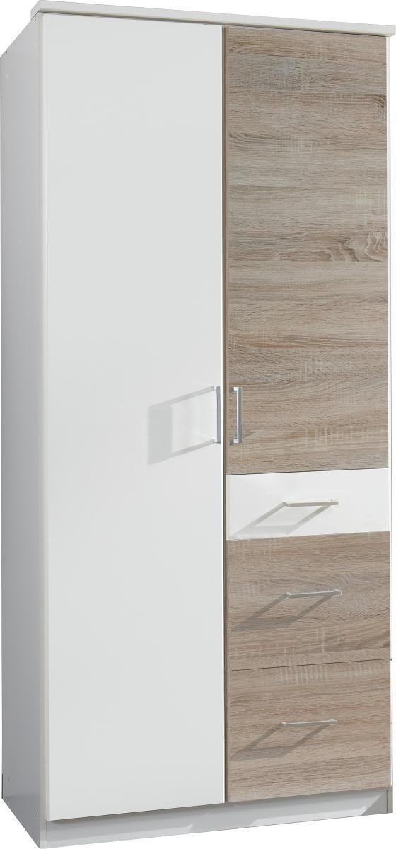 ORMAR S KLASIČNIM VRATIMA - bijela/boje hrasta, Design, drvni materijal/plastika (90/199/58cm) - BOXXX