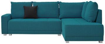 WOHNLANDSCHAFT in Textil Türkis - Türkis/Silberfarben, Design, Kunststoff/Textil (243/207cm) - Xora