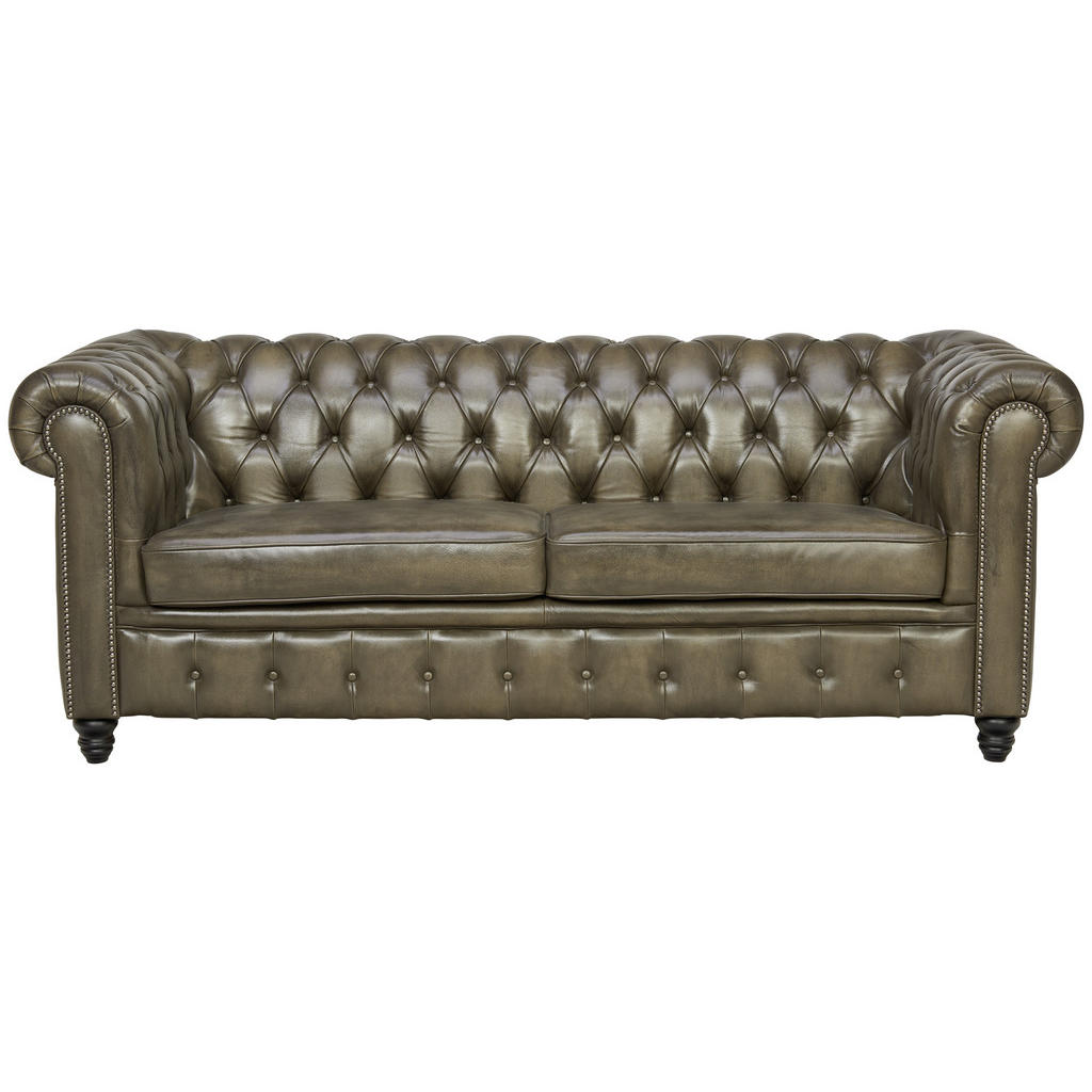 Image of Ambia Home Chesterfield-sofa in holz, leder schwarz, taupe , Chester-6 , Echtleder , teilmassiv , 208x76x90 cm , pigmentiert,Echtholz , 001659000301