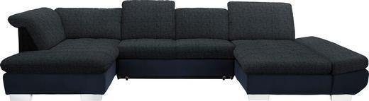 WOHNLANDSCHAFT in Textil Blau, Schwarz - Chromfarben/Blau, Design, Kunststoff/Textil (211/350/204cm) - Xora