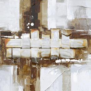 OLJEMÅLNING - vit/brun, Basics, metall/trä (30/30cm) - Monee