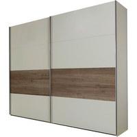 OMARA Z DRSNIMI VRATI, bela, hrast  - bela/hrast, Design, leseni material (225/210/65cm) - Boxxx