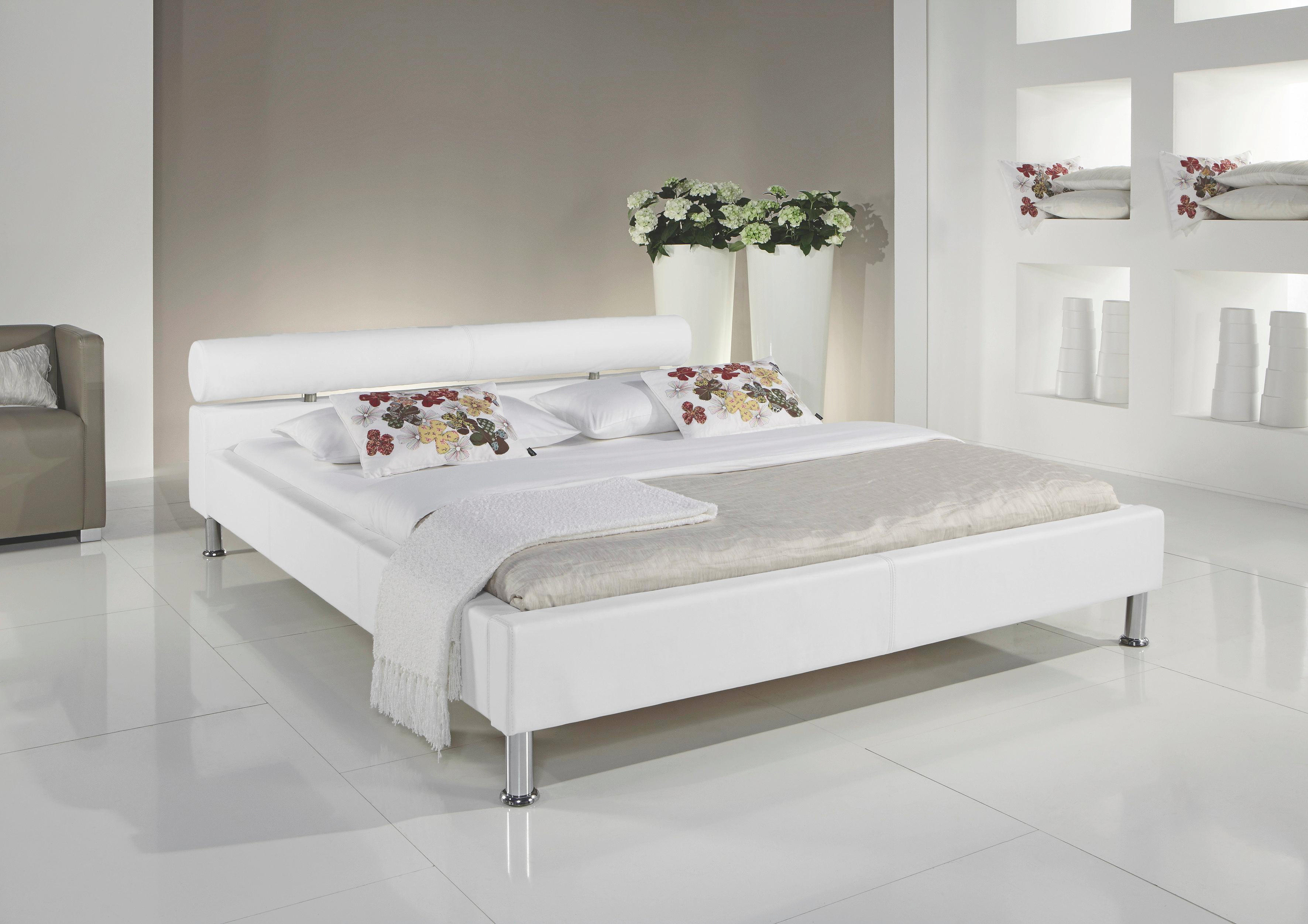 POLSTERBETT 140 cm   x 200 cm   in Textil Weiß - Chromfarben/Weiß, Design, Textil/Metall (140/200cm) - CARRYHOME