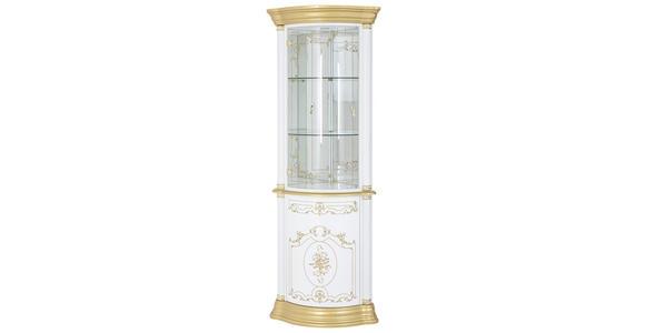 ECKVITRINE in Goldfarben, Weiß - Goldfarben/Weiß, LIFESTYLE, Glas/Holzwerkstoff (56/205/56cm) - Cantus