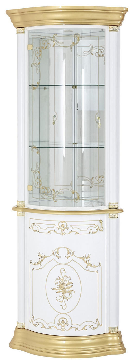 ECKVITRINE in Weiß, Goldfarben - Goldfarben/Weiß, LIFESTYLE, Glas/Holzwerkstoff (56/205/56cm) - Cantus