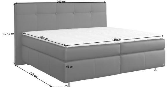 BOXSPRINGBETT 180/200 cm  in Dunkelbraun  - Dunkelbraun/Alufarben, KONVENTIONELL, Leder (180/200cm) - Dieter Knoll