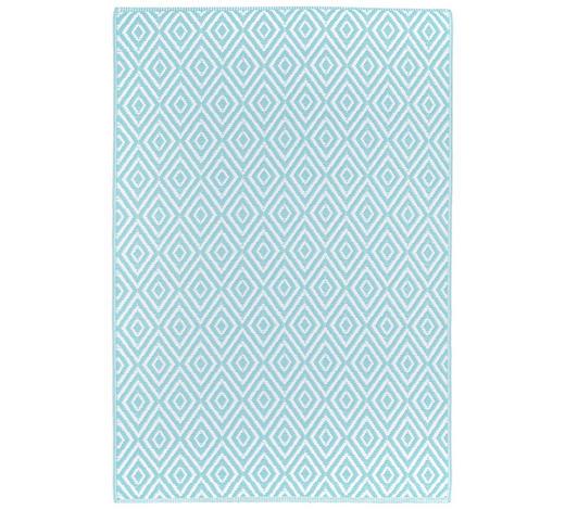 OUTDOORTEPPICH  In-/ Outdoor 90/150 cm  Weiß, Hellblau   - Weiß/Hellblau, Trend, Textil (90/150cm) - Boxxx