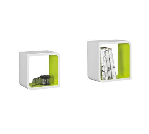 SADA NÁSTĚNNÝCH REGÁLŮ, zelená, bílá,  - bílá/zelená, Design, kompozitní dřevo (28/28/15cm) - Boxxx