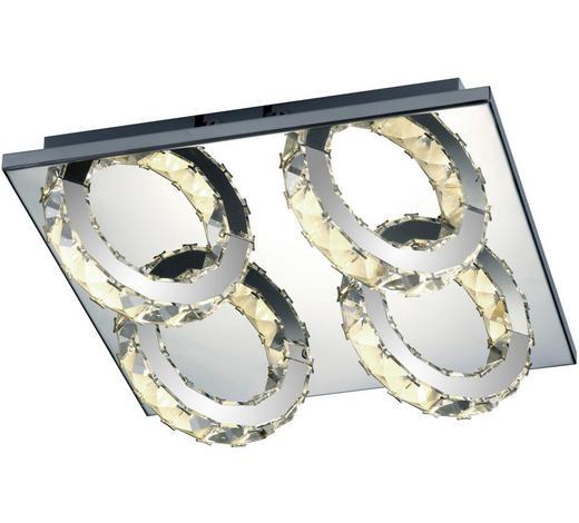 LED-DECKENLEUCHTE - Chromfarben, Design, Glas/Metall (28cm)