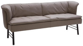 SITZBANK in Metall, Leder Anthrazit, Taupe  - Taupe/Anthrazit, KONVENTIONELL, Leder/Metall (220/85/69cm) - Valnatura