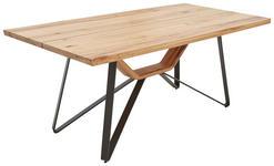 ESSTISCH in Holz, Metall 180/90/76 cm   - Eichefarben/Schwarz, Design, Holz/Metall (180/90/76cm) - Ambiente