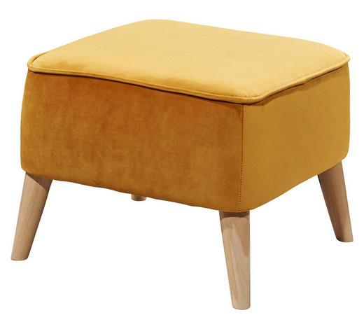 HOCKER in Holzwerkstoff, Textil Goldfarben - Goldfarben/Kieferfarben, Trend, Holz/Holzwerkstoff (47/36/47cm) - Carryhome