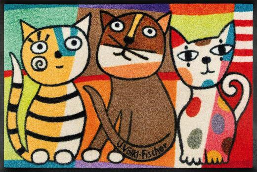 FUßMATTE 50/75 cm Katze Multicolor - Multicolor, Basics, Kunststoff/Textil (50/75cm) - Esposa