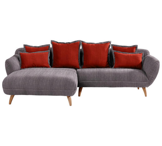 WOHNLANDSCHAFT in Textil Rot, Dunkelgrau - Dunkelgrau/Rot, Design, Holz/Textil (175/280cm) - Carryhome