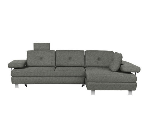 WOHNLANDSCHAFT in Textil Grau - Chromfarben/Grau, Design, Textil/Metall (288/190cm) - Hom`in