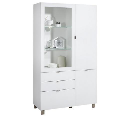 VITRINE Weiß  - Edelstahlfarben/Weiß, Design, Glas/Holzwerkstoff (109,7/190,7/41,4cm) - Hom`in