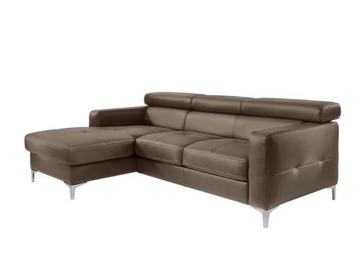 Ecksofa Braun Lederlook - Silberfarben/Braun, Design, Textil (169/226cm) - Carryhome