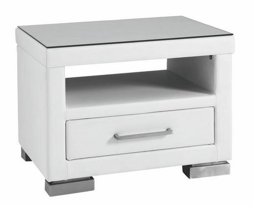 NACHTKÄSTCHEN Lederlook Weiß - Chromfarben/Weiß, Design, Glas/Textil (56/42/40cm) - Xora
