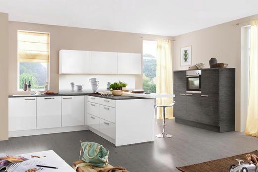ECKKÜCHE Soft-Close-System, Spüle - Weiß/Grau, Design (180+248/370cm) - Nolte Küchen