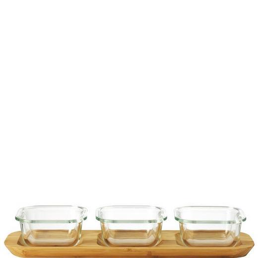 DIPSCHALENSET - Transparent/Braun, LIFESTYLE, Glas/Weitere Naturmaterialien (34,50/6,70/13,50cm) - Leonardo