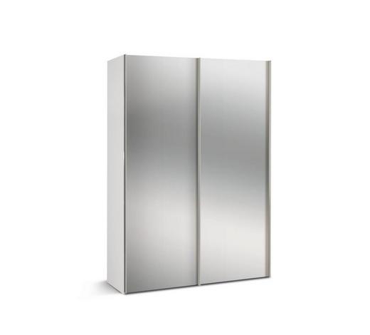SCHWEBETÜRENSCHRANK 2-türig Weiß  - Alufarben/Weiß, KONVENTIONELL, Glas/Holzwerkstoff (150/216/48cm) - Hom`in