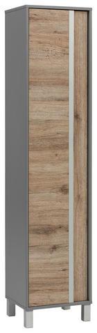 HOCHSCHRANK Eichefarben - Eichefarben/Silberfarben, Design, Holzwerkstoff/Metall (40,5/179,5/33,5cm) - Stylife