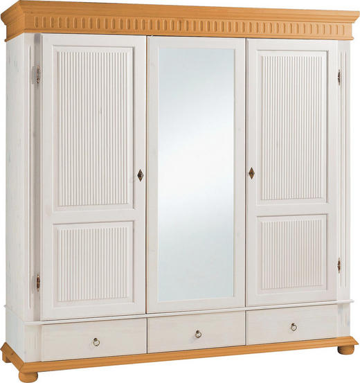 KLEIDERSCHRANK 3-türig Kiefer massiv Kieferfarben, Weiß - Weiß/Kieferfarben, Design, Holz/Metall (195/218/62cm) - Carryhome