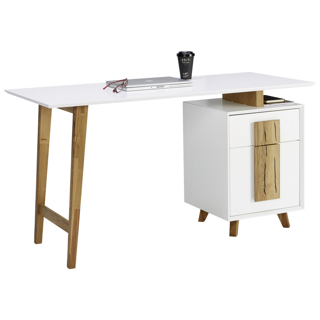 Novel Schreibtisch eiche massiv weiß