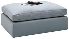 HOCKER Chenille, Mikrofaser Blau - Blau/Schwarz, Design, Kunststoff/Textil (122/46/96cm) - Hom`in