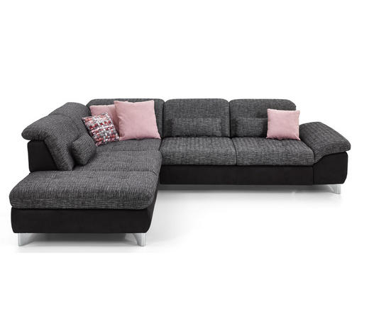 WOHNLANDSCHAFT in Textil Anthrazit, Schwarz - Chromfarben/Anthrazit, Design, Textil/Metall (260/319cm) - Beldomo Style