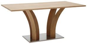 ESSTISCH in Holz, Holzwerkstoff 140/100/76 cm   - Edelstahlfarben/Eichefarben, Design, Holz/Holzwerkstoff (140/100/76cm) - Dieter Knoll