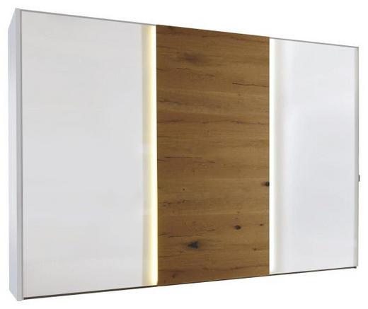 SCHWEBETÜRENSCHRANK 3  -türig Eichefarben, Weiß - Chromfarben/Eichefarben, Design, Glas/Holzwerkstoff (336/240/68cm) - Moderano